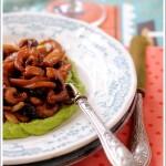 Moscardini al Balsamico con Pinoli e Uvetta su Crema di Zucchine alla Nepitella