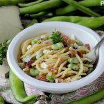 Spaghetti alla Chitarra con Guanciale, Baccelli e Pecorino