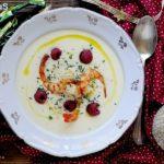Crema di Patate al Parmigiano con Mazzancolle e Lamponi